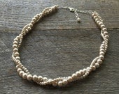 "Custom Listing for Alison - 16"" 4-6mm Champagne Pearl Bridal Necklace on Gold"