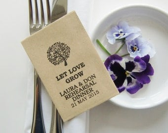 Rehearsal Dinner Favors-Seed Packet Favors-LET LOVE GROW-Varous Qtys-Personalized-Wedding Decor-Bridal Shower-Wedding Reception-Wedding
