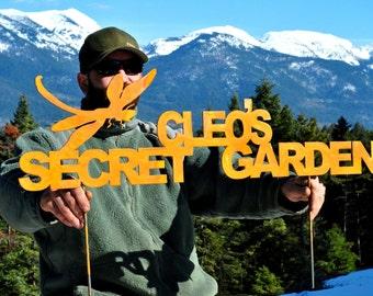 Secret Garden Sign, Dragonfly Garden Art, Whimsical Garden, Steel Garden Art