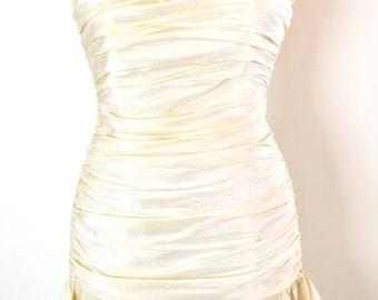 ON SALE Betsey Johnson: PROM Dress // Strapless Mini Dress // Cream Mini Dress // 80s Strapless Dress // 80s Madonna // Summer Evening Dress