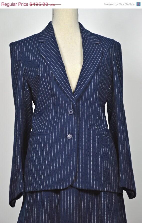 ON SALE Oscar de la Renta SUIT: Pinstripe Suit // Navy Wool Suit // 50s Skirt Suit // Fifties Suit // 2 Piece Ensemble