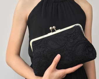 Black Clutch, Black Lace Wedding Clutch Purse, Bridal Clutch, Bridesmaid Clutches, Party Clutch, Evening Clutch, Silk Clutch Purse