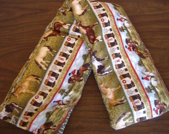 Row Jumper and Boots Horse Print Neck Warmer Corn Cozie