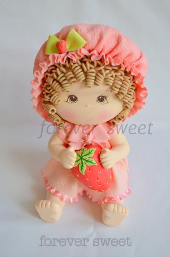 Strawberry shortcake cake topper. First Birthday cake topper. children cake topper. Room decoration. baby shower cake topper