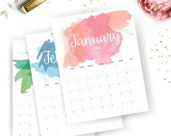 Printable 2016 Monthly Calendar - Printable Calendar - Watercolor Planner - Watercolor Printable - Instant Download - Print at home