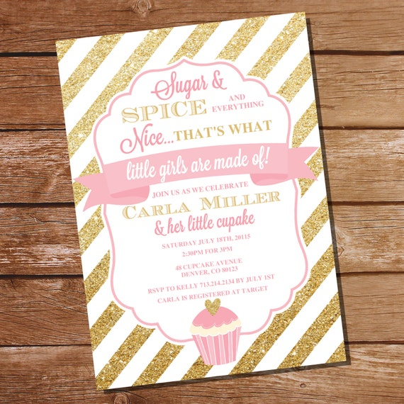 sugar and spice baby shower invitation sugar and spice girl baby
