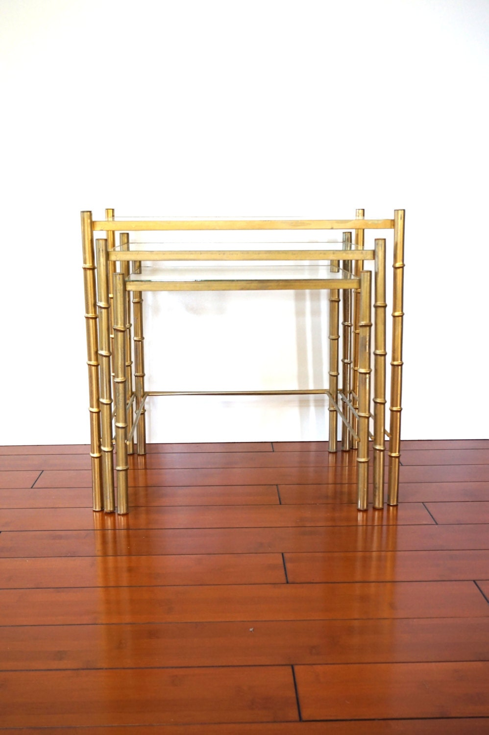 Mid Century Gold Faux Bamboo Nesting Tables Set Of Three