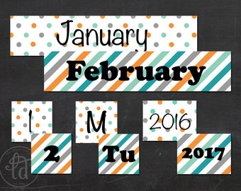 Bright Skies - Blue, Turquoise, and Orange - Printable - Matching Classroom Calendar - INSTANT DOWNLOAD