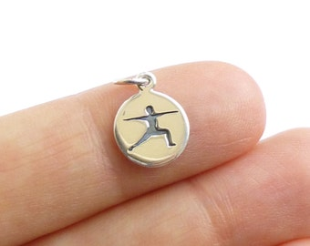 Sterling Silver Warrior Yoga Pose Charm -- 1 Piece