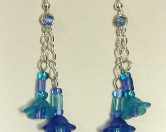 Blue Flower Dangle Earrings, Bead and Chain