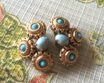 Vintage Gold Tone Faux Turquoise Rhinestone Clip On Earrings Florenza?