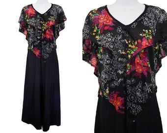 Vintage 70's Black & Colorful Floral Pattern Disco Maxi Dress M