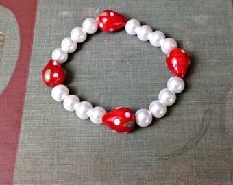 Handmade Strawberry and Pearls Beaded Bracelet