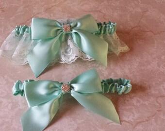 Aqua / Blue Wedding Bridal Garter Set ... with Rhinestone details...