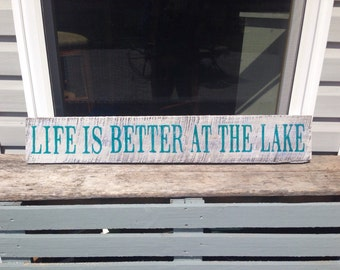 """Life is Better at the Lake Barn Wood Sign, 36""""x5.5"""""""