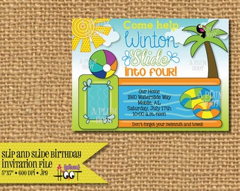 Slip and Slide, Water Games, Pool  Birthday Party Invitation (Personalized, DIY, 5X7 Printable)