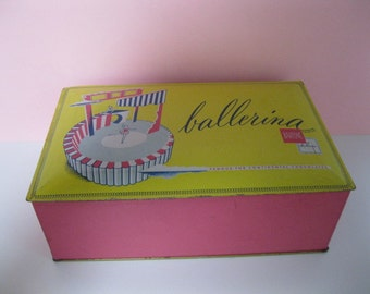 "Mid Century Barton's Ballerina Chocolate ""Bonbonniere"" Tin Box, Pink and Yellow, T.M. Reg. 1949"