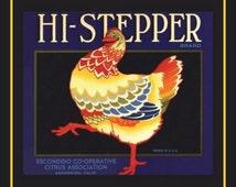 Fridge Magnet - Colorful Chicken, vintage label image, Hi-Stepper, rooster