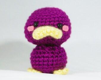 Crochet Grapes the Platypus, Amigurumi Platypus Toy, Platypus Plush Handmade