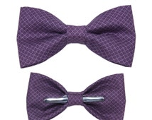 Dark Purple Square Clip On Bow Tie - Men / Boys 3T / 12-18 Months