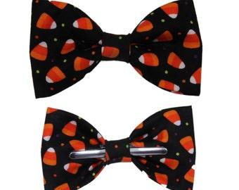 Black / Orange Candy Corn Clip On Cotton Bow Tie ~ Choice of Men's or Boys Sizes Halloween