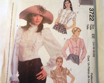 """Steampunk Blouse sewing pattern with ruffle variations McCalls 3722 Size 14 16 18 20 Bust 36 38 40 42"""" UNCUT FF"""