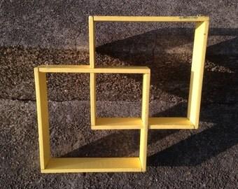 Vintage Shadowbox Shelves Painted Wood Display Yellow