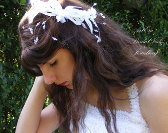 Vintage style Bridal hair ornament, hairpiece, wedding hairpiece, white beads,  sparkling jewelery