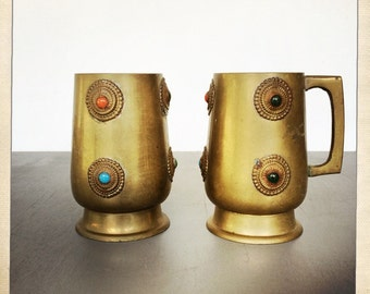 vintage brass tankards with cabochon detailing boho chic stein mug
