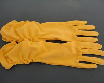 Vintage Yellow/Lemon Nylon Mid Length Ruched Gloves 1960s by Dents - Size UK 7.5 - Ideal Bridal/Wedding/Prom