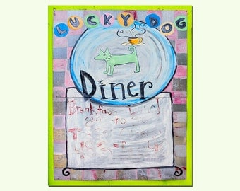 Venice Florida, Diner Sign Photograph, Mid Century Signage, The Lucky Dog Diner, Chartreuse, Pink, Light Blue, Old Sign Art Print