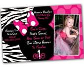 Minnie Mouse Invitation, Minnie Mouse Birthday, Pink Minnie Mouse invitations, Minnie Mouse party, Minnie Mouse Thank you card, Zebra Minnie