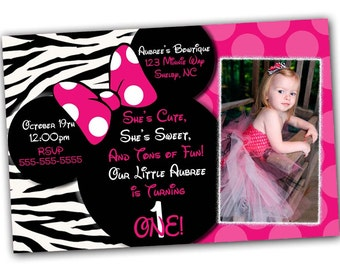 Minnie Mouse Invitation, Minnie Mouse Birthday, Pink Minnie Mouse invitations, Minnie Mouse party, Minnie Mouse Thank you card, Zebra Minnie