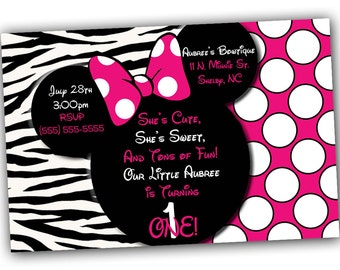 Minnie Mouse Invitations, Minnie Mouse Birthday, Pink Minnie Mouse invitations, Minnie Mouse party, Minnie Mouse Thank you card, zebra