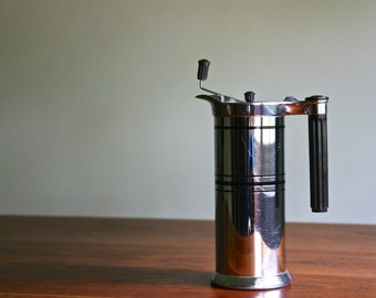 Rare Vintage 1934 Art Deco chrome Sunbeam coffee maker with bakelite handle and accents