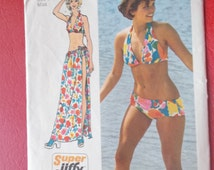 Size Small (8-10) 1970s Jiffy Bikini and Wrap and Tie Skirt Vintage Simplicity 5644 Sewing Pattern
