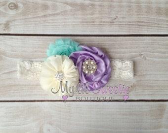 Light purple, mint, ivory trio - Vintage style headband- flower girl headband- toddler headband- infant headband- mermaid inspired headband