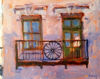 Balcony.   Original 8x10 acrylic painting on stretched canvas.