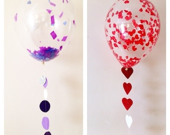 5 Confetti balloon for  valentine weddings babyshower birthdays parties 11""