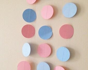 Pink and blue circle  garland, wedding garland, bridal and baby shower garland, party garland,