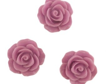 Set of 12 Mauve Pink Rose Blossom Resin Flower Flat Backed Cabochon Kawaii Decoden Valentine's Day PF5