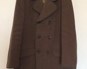 Vintage wool herringbone double breasted man's coat