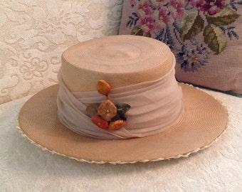 Schiaparelli straw hat finely woven bolero boater chiffon band raffia under brim mid century rockabilly French designer fashion accessory