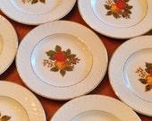 "Enoch Wedgwood ""English Harvest"" - Set of Seven Small Bread Wedding Cake Dessert Plates"