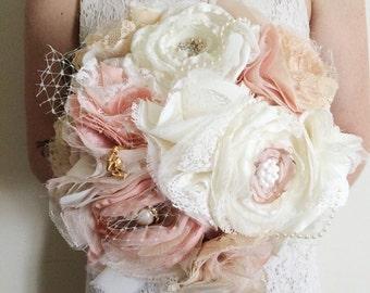 Fabric bouquet, fabric flower bouquet, vintage inspired fabric bouquet, shabby chic fabric bouquet, bride bouquet