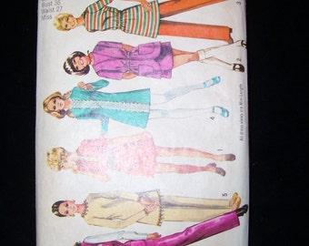 Vintage 1970 Simplicity 9029 Misses Mini Dress, Pants and Vest Pattern Size 14