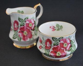 "Royal Windsor Cream and Sugar Set ""The Wild Rose"""