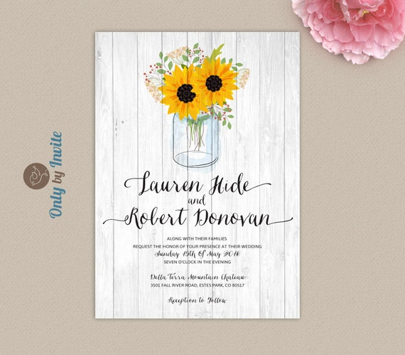 Cheap Printed Wedding Invitations: Sunflower Wedding Invitations Printed On Premium Paper