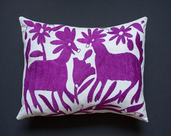 lilac otomi embroidered pillow cover