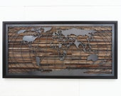 World map artwork made of old barnwood and natural steel, Different Sizes Available.